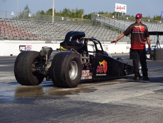 Waiting to do a burnout  - Picture of Pure Speed Drag Racing