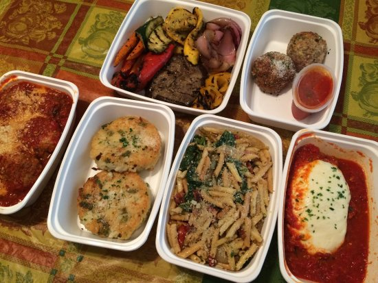 Joe Leone's Italian Specialties: roasted veg, turkey meatballs. regular meatballs/sauc, asparagus risotto, pancetta pasta, chick
