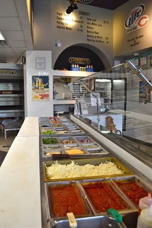 "Lake Forest, IL: Our Artesian Pizza Line.  10"" Thin Crust or 7"" Deep Dish, unlimited toppings, only $8.25"