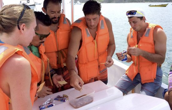 San Juan del Sur Surf and Sport: Ceviche from our fishing excursion, courtesy of the captain.