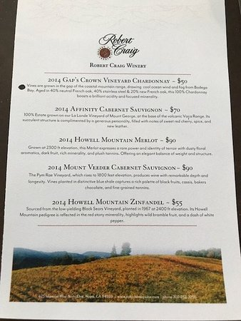 Robert Craig Winery: Today's tasting menu. Our tasting fees were waived with our 2 bottle purchase of the 2014 Mount