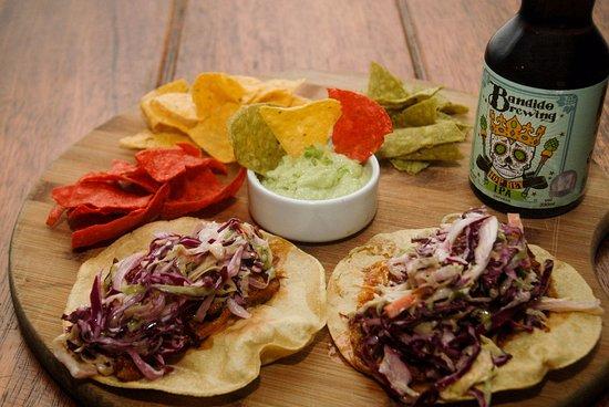 Bandido Brewing: Pulled Pork Tacos, with artisan made tortilla chips !