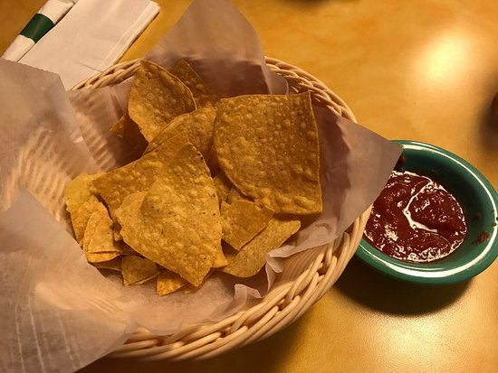 Rancho Viejo : Our half eaten chips and salsa - free and unlimited