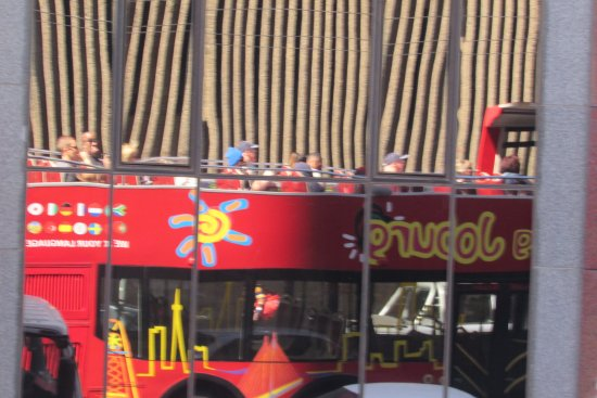 City Sightseeing Joburg: Our bus reflection on downtown building
