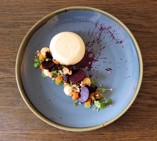 Goats cheese panna cotta, salt baked beetroot salad, walnut crumble (V)
