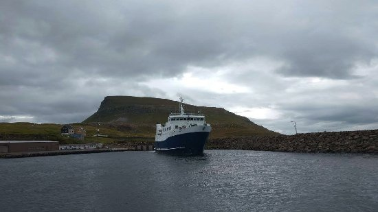 Streymoy, Faroe Islands: The number 90 ferry leaving Nólsoy harbour