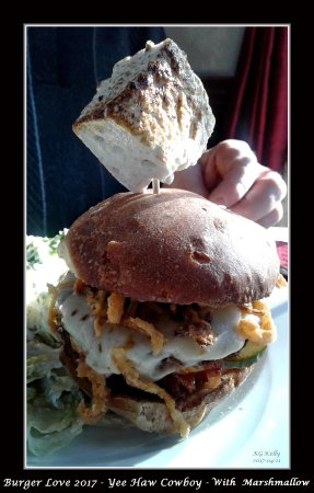 Dundee Arms Inn Restaurant and Pub: The buirger love Yee Haw with a nice Ceasar salad.