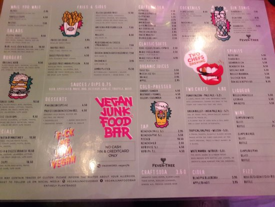 Menu picture of vegan junk food bar amsterdam tripadvisor for Food bar menu