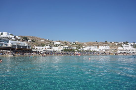 Ornos Beach Mykonos Greece August 2017