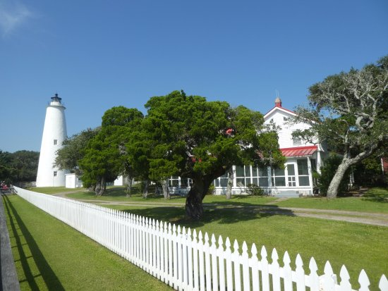 Ocracoke Lighthouse: On private property...owners home shown.