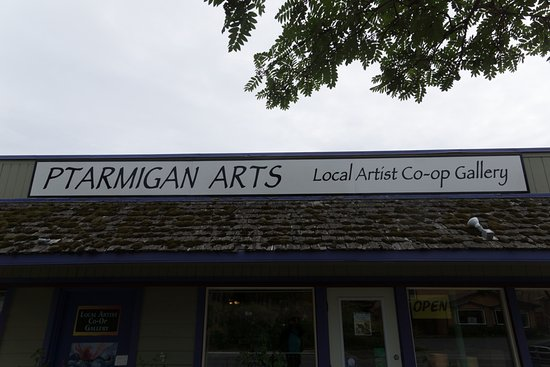 Ptarmigan Arts: The sign from the street.