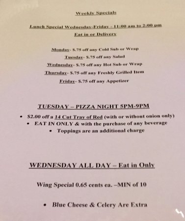 Avoca, PA: Ernie G's Weekly Specials September 2017