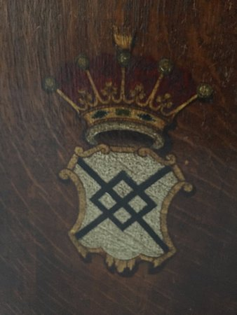 Ham House: 300 year old chair with my family's crest (Tollemache - pronounced Talmadge in the US)