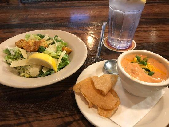 The Montana Club Restaurant: Caesar salad and tomato soup.