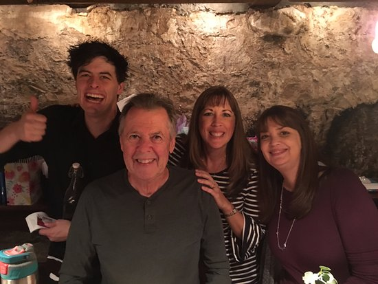 Placerville, CA: Celebrating our birthdays in the cellar room with Emerick, our excellent waiter.