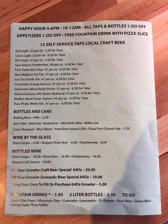 The Pizza Patio: Alcohol Menu
