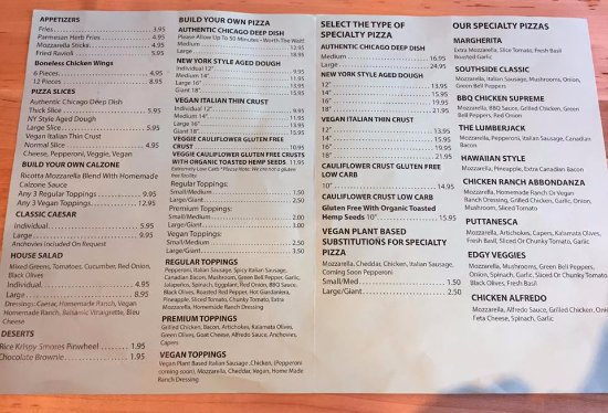Food menu - Picture of The Pizza Patio, Flagstaff - TripAdvisor