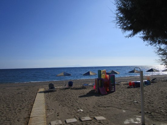 Vatera, Greece: Beach view with childrens play structure