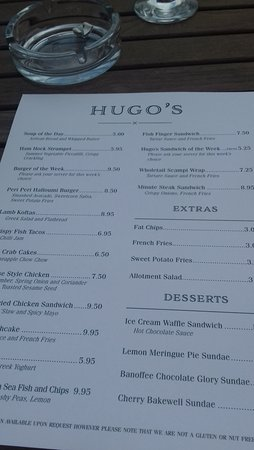 Hugos at the Coast: Menu
