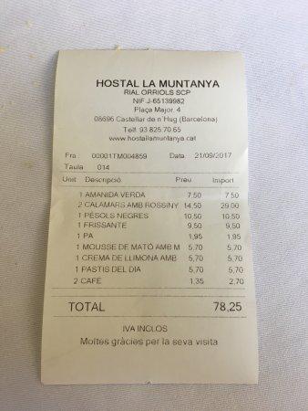 Castellar de n'Hug, Ισπανία: nuestra cuenta