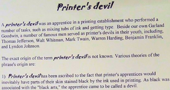 Columbus, NC: printer's devil first part