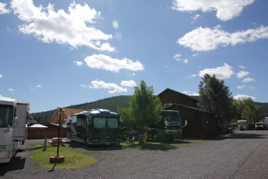 Railside RV Ranch: RV sites, main building, and new clubhouse construction.