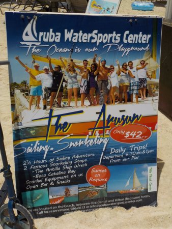 Aruba Watersports Center: promotional sign for the Arusan catamaan snorkel tour
