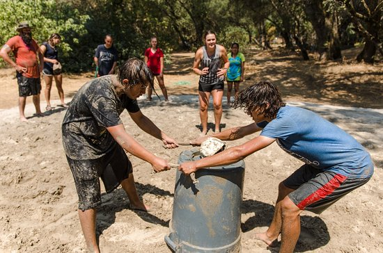 Lotus, CA: Campers play Kajabe-Can-Can at summer camp