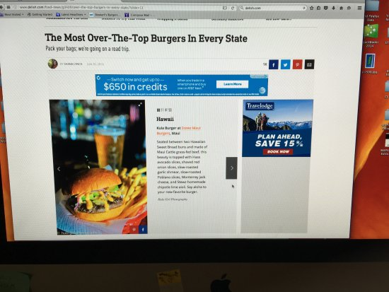 """Delish.com voted the Kula Burger """"Most over the top"""" in state of HI"""