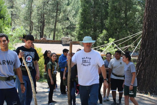 Valyermo, CA: Walking Cadets through Camp Ground on Tour