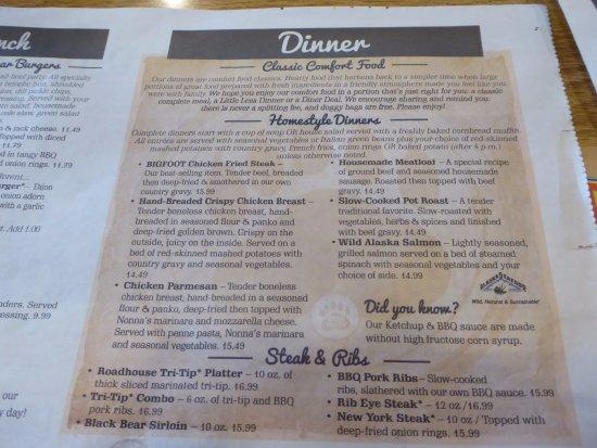 Black Bear Diner: Part of Menu