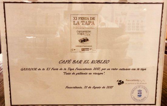 Fuencaliente, สเปน: Ganador por su valor culinario. XI Feria de la Tapa