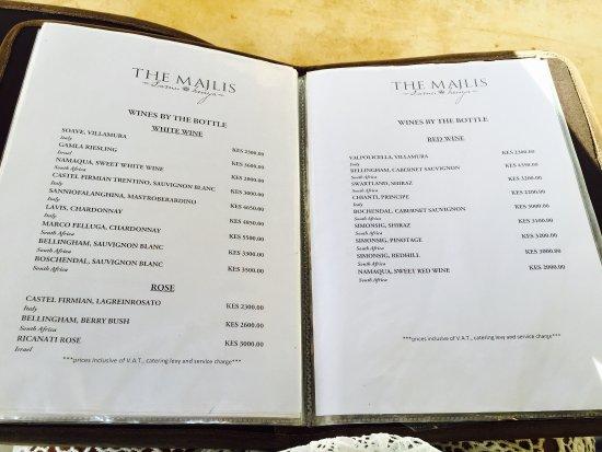 The Majlis Hotel: Menus