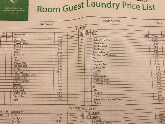 Sheraton Addis A Luxury Collection Hotel Ababa Laundry List Prices