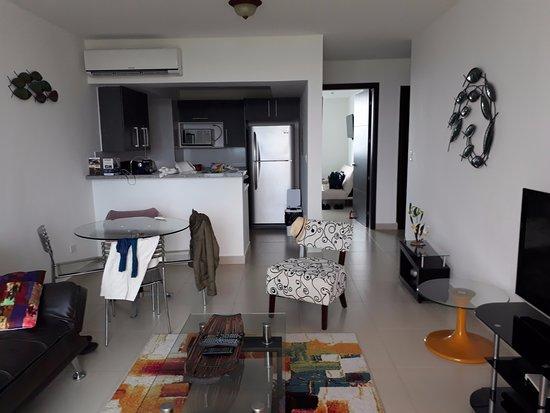 Sala comedor y cocina al fondo Picture of Hotel Playa Blanca