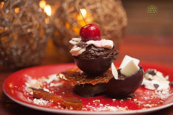 Ladismith, Sudáfrica: Chocolate mousse creme anglaise