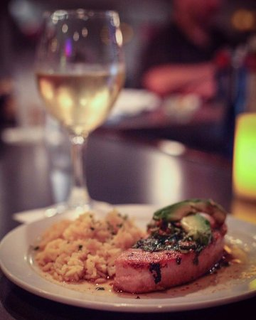 Sylvan Lake, MI: Pan Seared Yellowfin Tuna topped with avocado, our mouthwatering ginger lime sauce, a side of wa