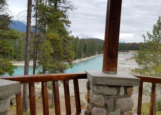 Jasper House Bungalows: View of the Athabasca River from the gazebo outside our cabin.