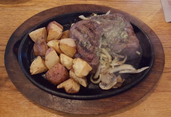 Pekin, IL: Bourbon Street Steak with red potatoes and sauteed onions and mushrooms