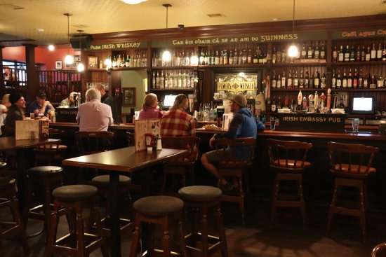 The Irish Embassy Pub: View of the bar.