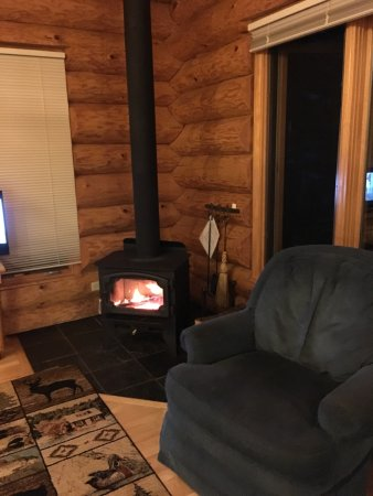 Lutsen Resort on Lake Superior: Wood stove in living area