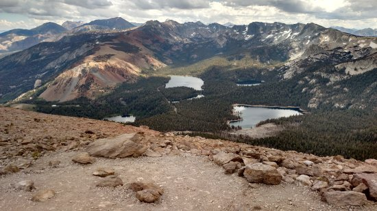 Picture of Lake Mary and surrounding lakes and mountains from Mammoth Mountain at 11,050 feet