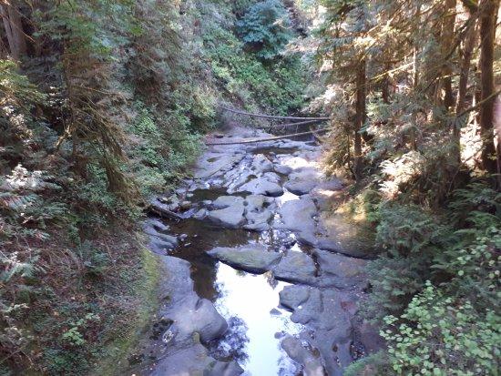 Kanaka Creek Riverfront Trail: Cliff Falls at low water.
