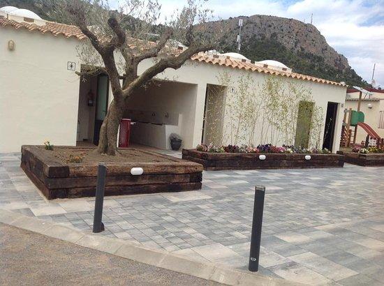 Camping Emporda: Nieuwe aanleg bestrating, bomen en struiken, ook diverse palmbomen geplant bij de staanplaatsen