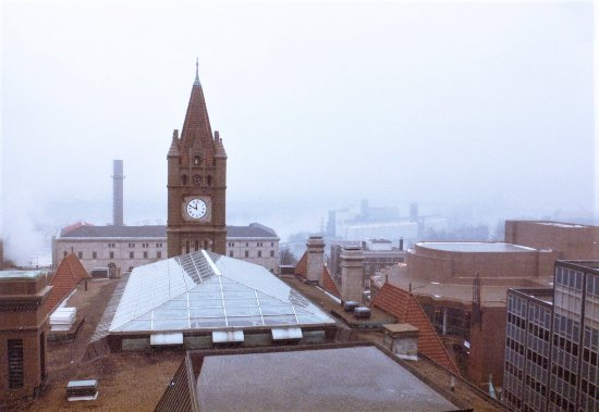 Landmark Center: Shot in the early 80's. The clock tower from the bell tower. Pretty much the same.
