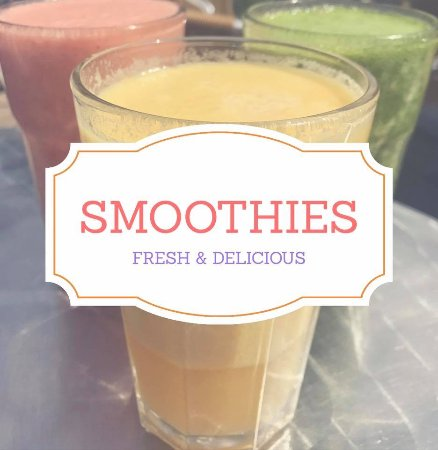 We make our own fresh smoothies here at Jenny's Brackley.