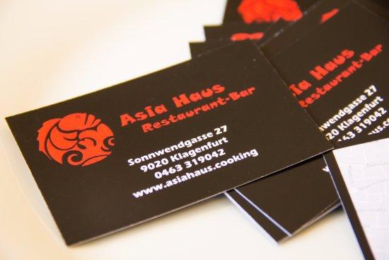 Unsere Visitenkarten Picture Of Restaurant Asia Haus