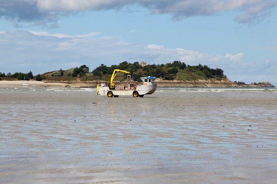 Saint-Jacut-de-la-Mer, Prancis: Amphibienboot eines Austern- / Muschelfischers.