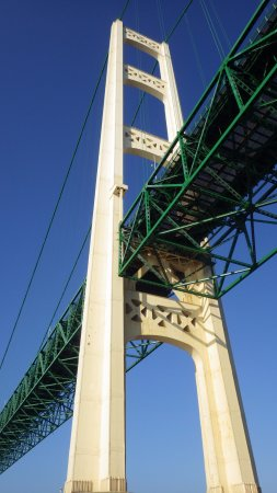 Ugly Anne Boat Cruises: View from below the Mackinac Bridge from Ugly Annie