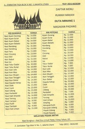 Menu Online Picture Of Duta Minang Masakan Padang